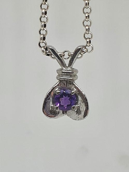 Amethyst butterfly pendant. Sterling silver. 1.5 cm