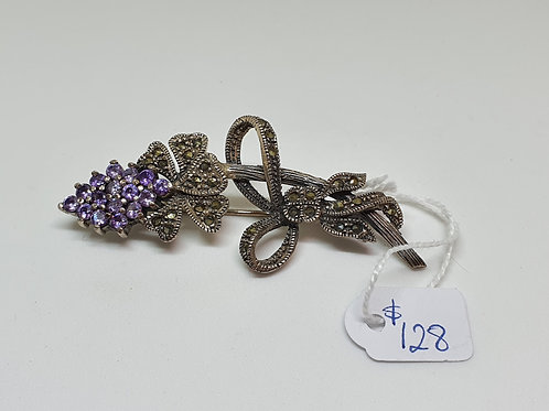 Stirling silver Amethyst & Marcasite brooch