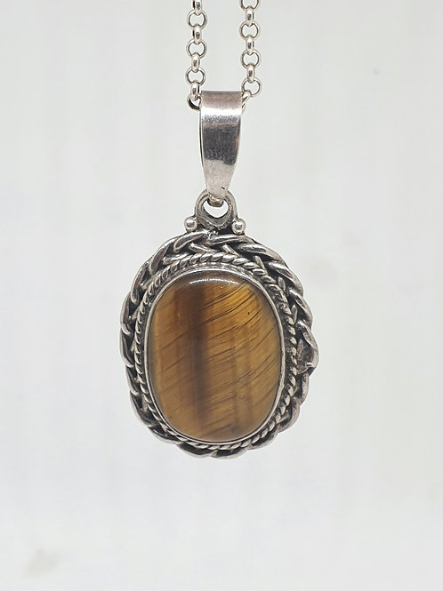Tiger Eye Sterling Silver pendant. 4 cm