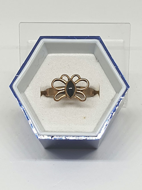 Brass Onyx Butterfly ring