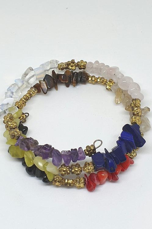 Chakra gemstone chip bracelet