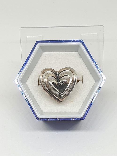 Sterling silver triple heart