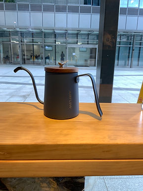 Blue Graphite Pour Over Pot with Wooden sealed cover