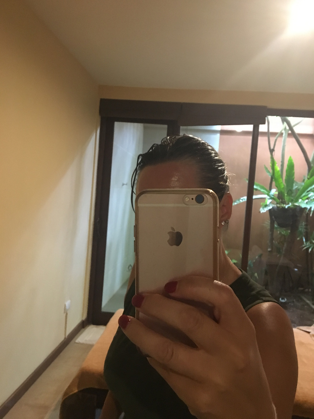 My oily hair after Shirodhara treatment