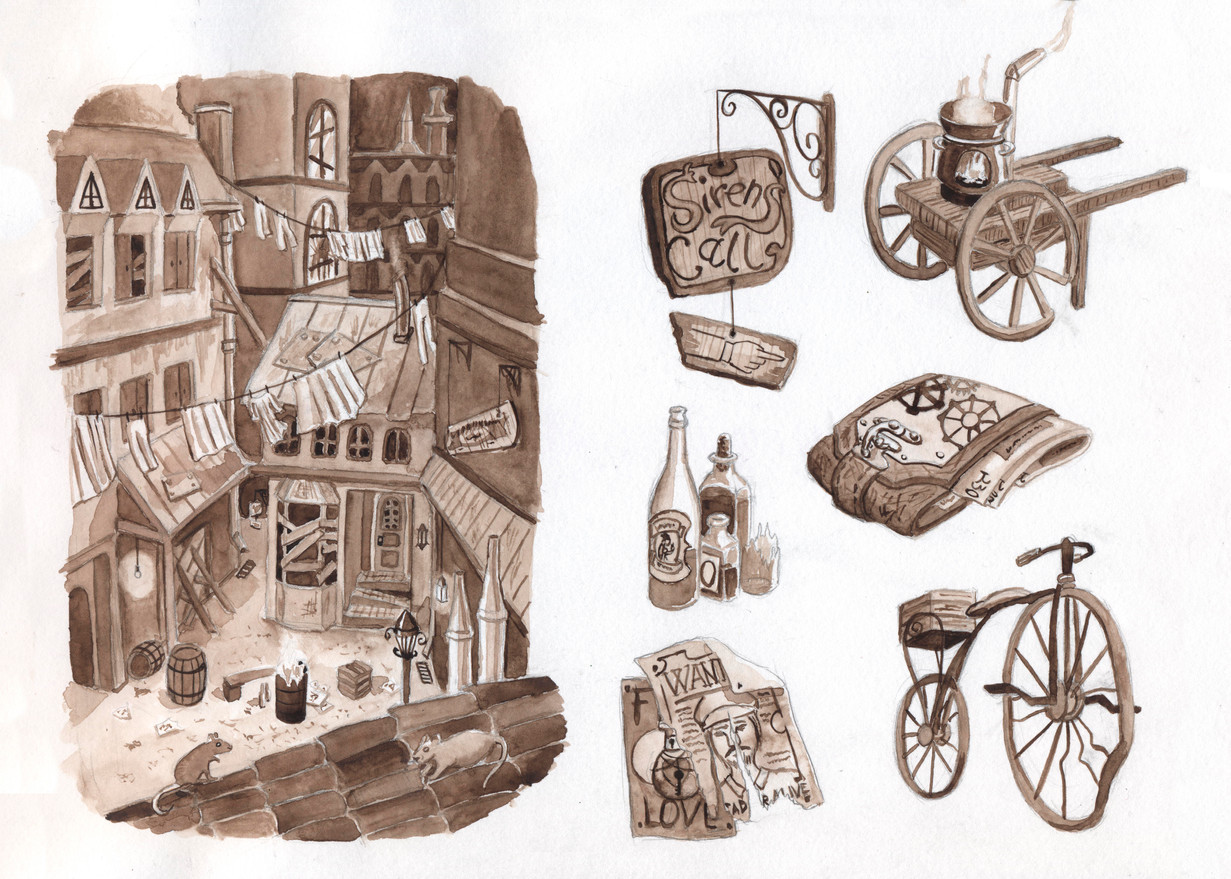 Concept steampunk streets