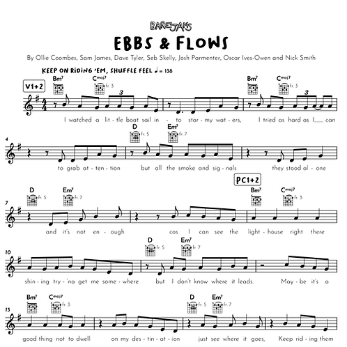 Ebbs and Flows - Guitar & Vocals Lead Sheet Plus Backing Tracks