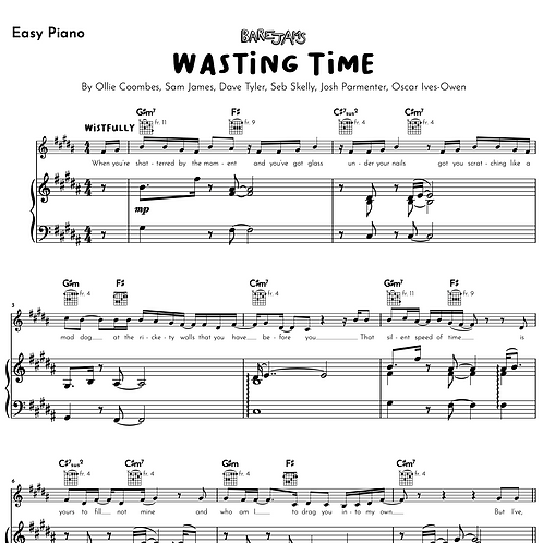 Wasting Time - Easy Piano Arrangement