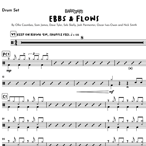 Ebbs and Flows - Drum Chart & Backing Track