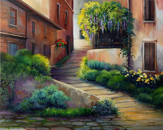 Stairs to Cafe- Provence, France- Original Oil
