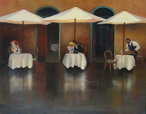 """Waiting"" Cafe Roma- Rome, Italy- Original Oil"