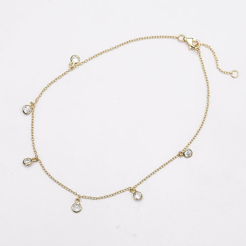 CZ Charm Gold Plated Silver Anklet