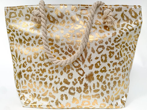 The Leopard Print Tote, Gold