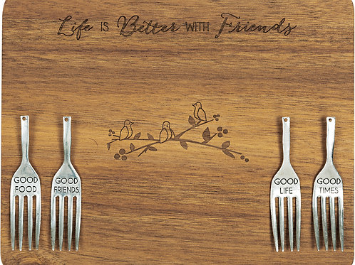 "Friends - 9"" Acacia Cheese/Bread Board Set"