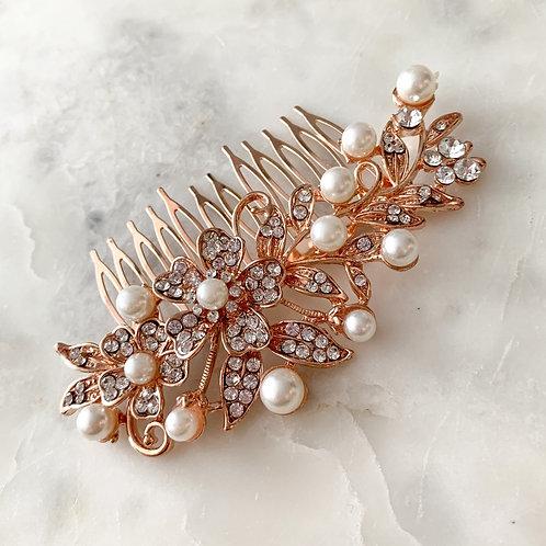 The Bella Pearl Hair Comb, Rose
