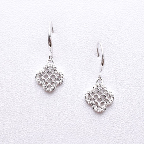 The Encrusted Clover Earrings, Silver