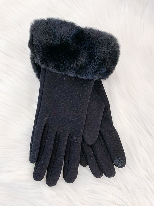 The Fur Cuff Glove, Black