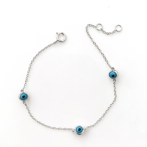 Three Eyed Charm Bracelet, Sterling Silver