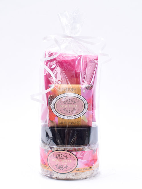 Rose Petal- Bathsalt, Soap & Scarf Set
