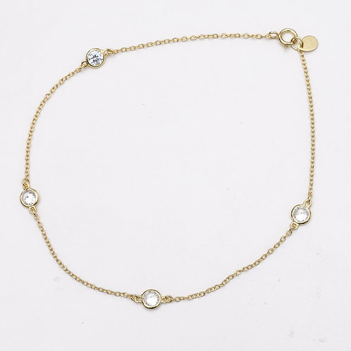 CZ By the Yard Sterling Silver Anklet