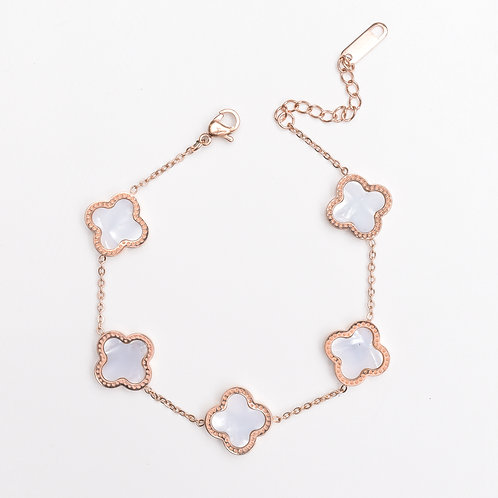 The Love Clove Bracelet, Rose Gold with Pearl