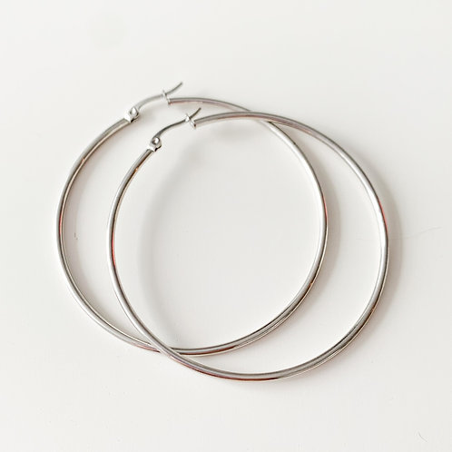 Stainless Steel Hoops (5 Sizes) Silver