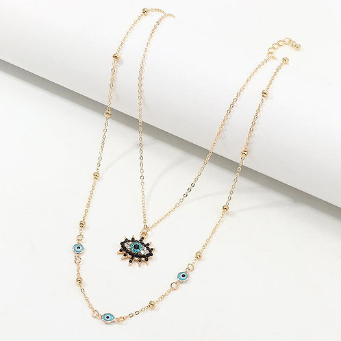 The Evil Eye Beaded Layered Necklace