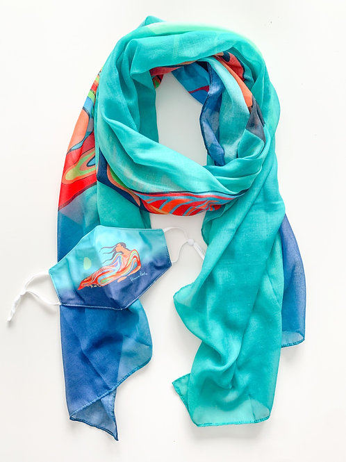 Indigenous Mask & Scarf Set, Mother Earth