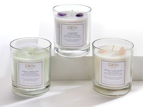 Scented Candles with Wellness Crystals