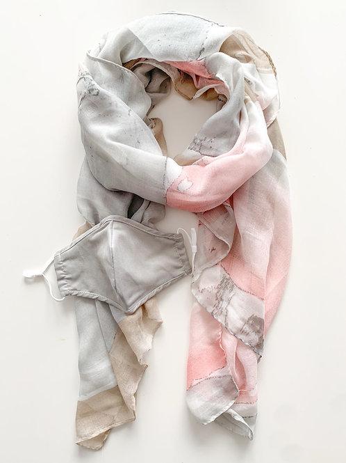 Mask & Scarf Set, Blush/Grey Abstract