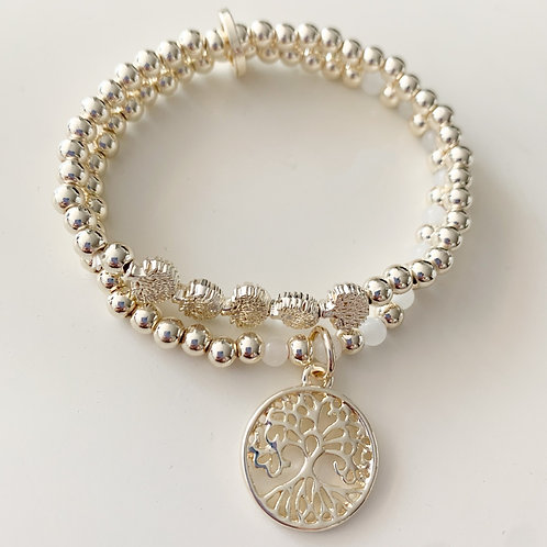 Tree of Life Double Beaded Stretch Bracelet, Soft Gold