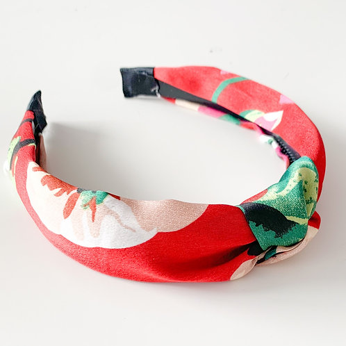 Floral Silky Top Knot Headband, Red