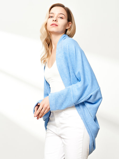 Open-Front Cocoon Sweater, Blue