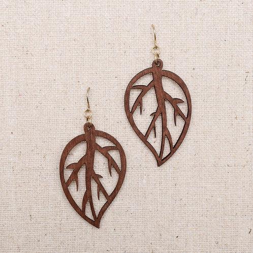 Wood and Leaf Earring
