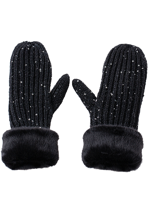The Black Sequin Mittens