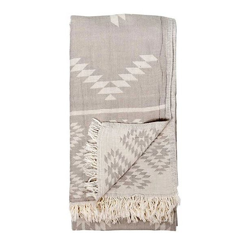 Geometric Turkish Towel, Pebble Grey