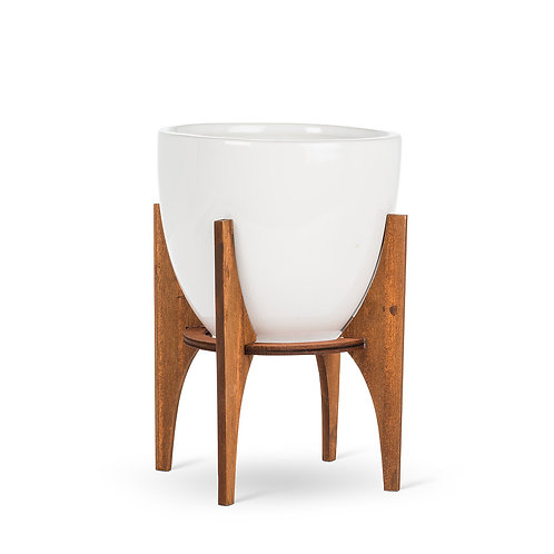 Large Pot with Wooden Stand