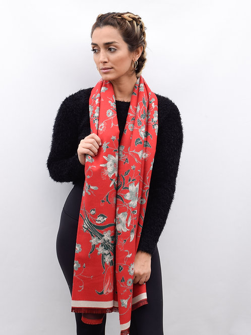 The Floral Mosaic Shawl, Red