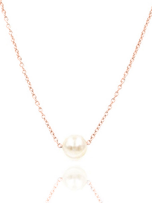 Single Pearl Collar Necklace, Rose Gold