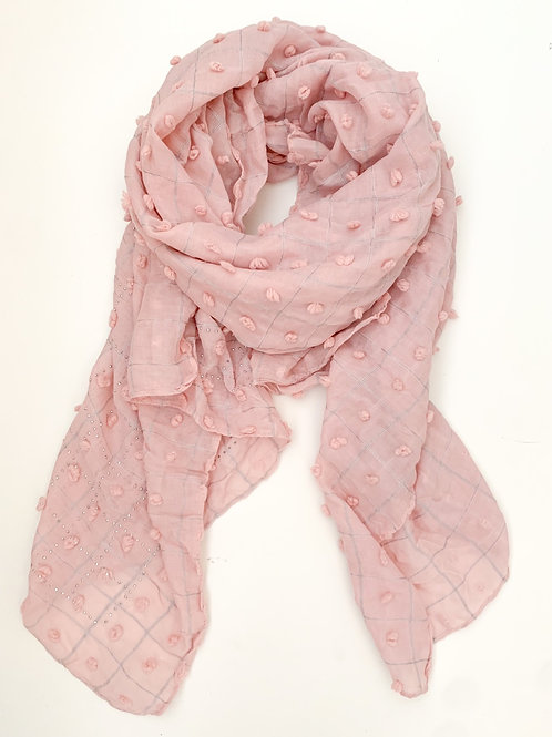 The Knot & Tassel Cotton Scarf, Pink