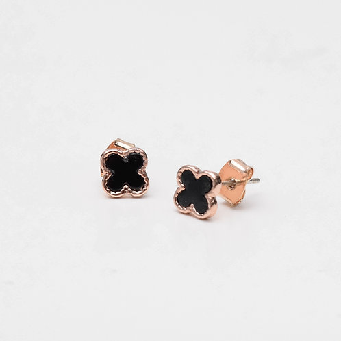 Tiny Clover Stud, Onyx Rose Gold