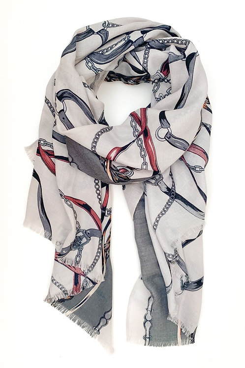 Ropes and Chains Scarf, Grey with Red