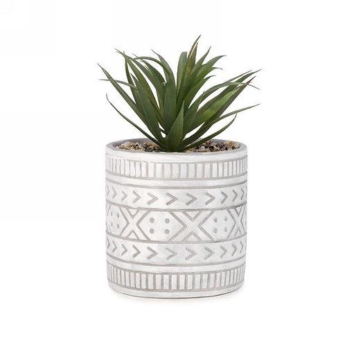Cactus in Aztec Pot (faux)