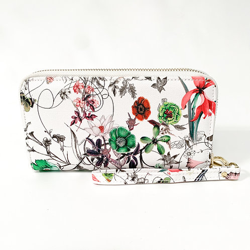 The White Floral Wallet/Wristlet