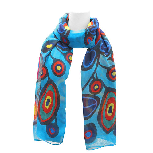 Norval Morisseau Flowers and Birds Artist Scarf