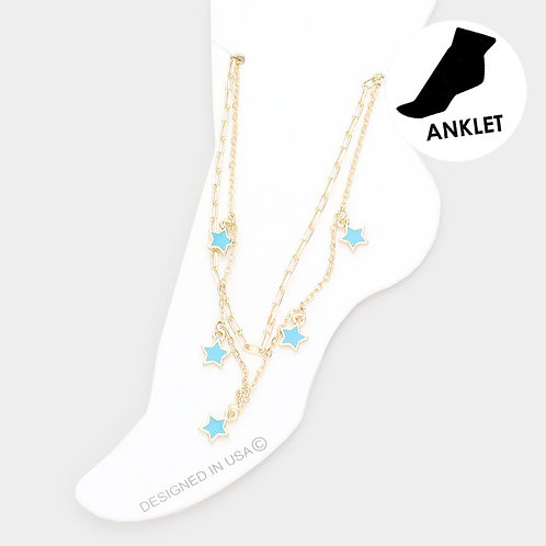 Star Charm Anklet, Turquoise