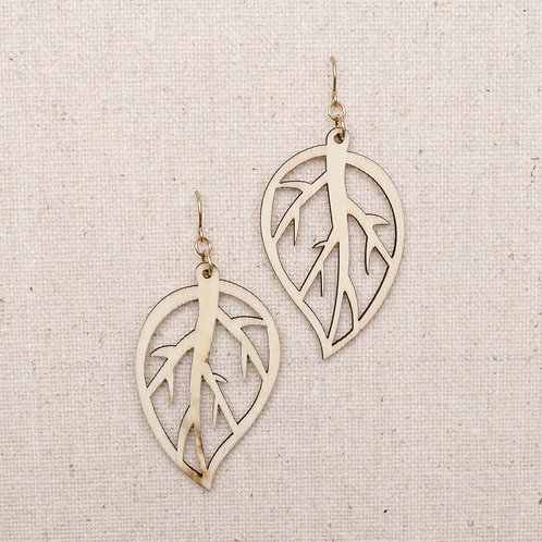 Wood and Leaf Earring