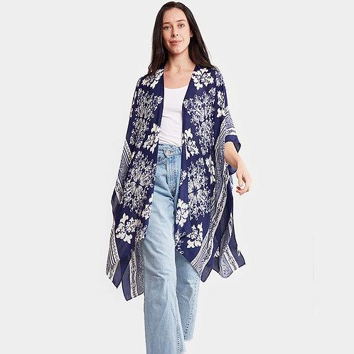 Navy Damask Print Kimono