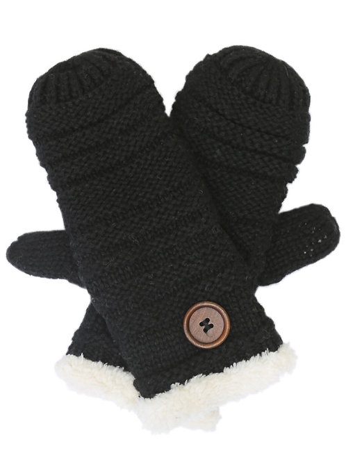The Black Button Mittens