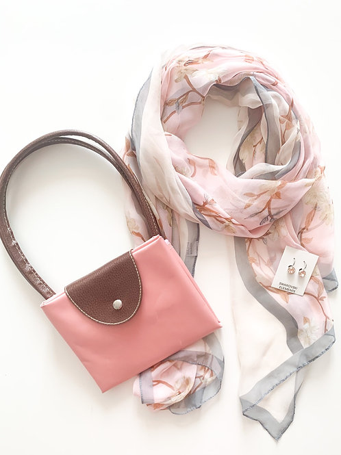 Scarf, Tote, and Swarovski Earring Set, Light Pink