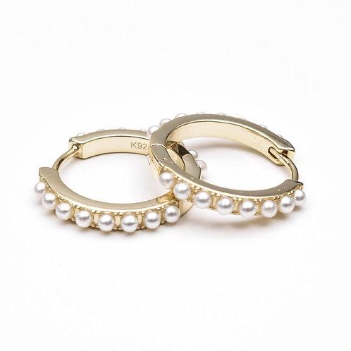 Pearl & Hoop Earring, 925 Sterling Silver